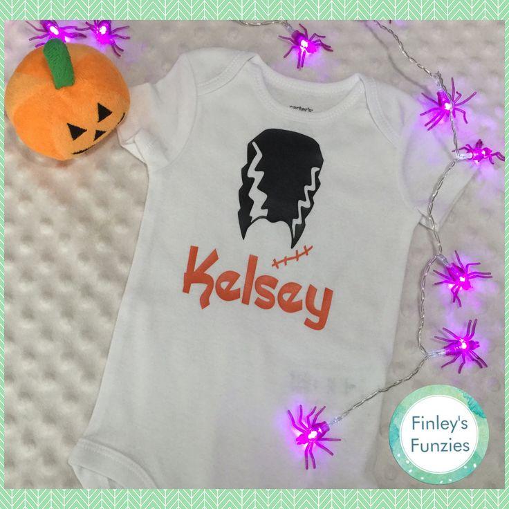 Bride of Frankenstein  Name Baby Onesie Halloween toddler shirt by FinleysFunzies on Etsy