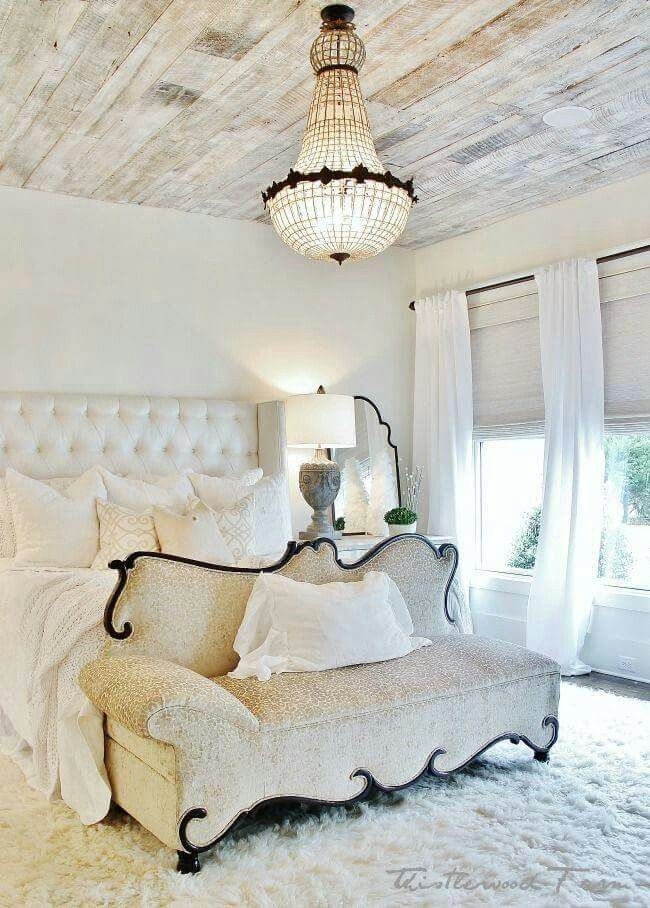 Love the white washed plank ceiling