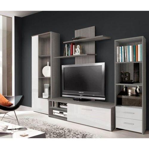 Calgary Séjour Tv Chene gris +Blanc brillant 230cm