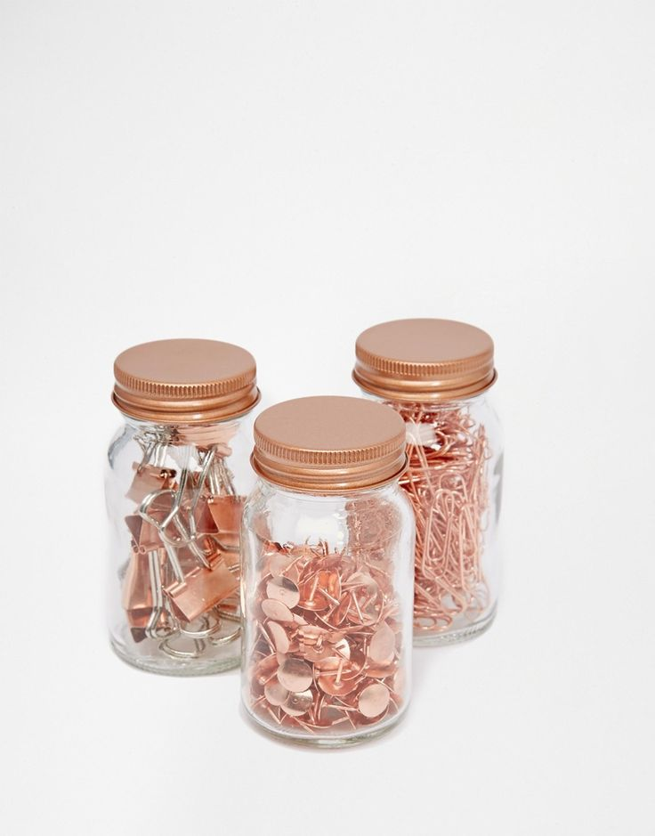 Image 4 of Paperchase Get Organised Set of 3 Copper Clip & Pin Jars