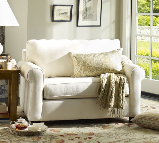 Buchanan Twin Sleeper Chair | Pottery Barn - perfect solution for extra seating AND extra sleeping!  A Twin Sleeper Chair!