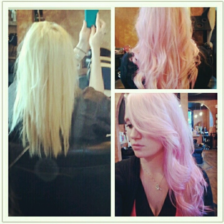 Pastel Pink hair!  ( Pravana vivids ) I have this entire color kit but am SO scared to use it because of the info section!