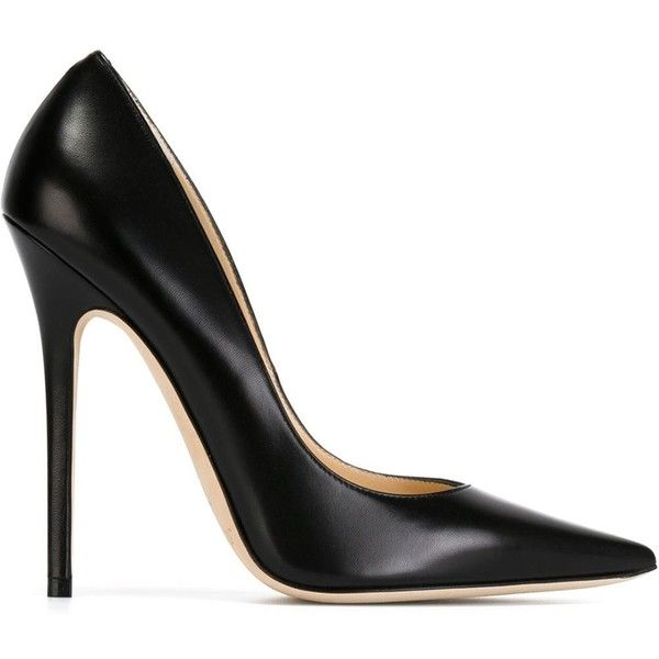 Jimmy Choo Anouk Pumps (1,585 PEN) found on Polyvore featuring shoes, pumps, heels, sapatos, high heels, black, pointy-toe pumps, leather pumps, high heels stilettos and black stilettos
