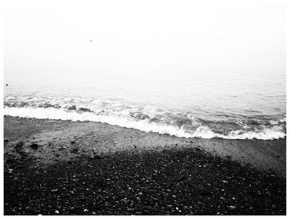 Large black and white ocean shoreline poster by knenanicole · poster photographyquirky artlarge