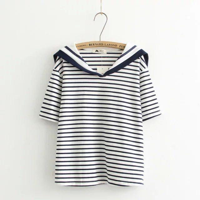 Uniforme escolar japonés 2017 mori girls lindo KAWAI cuello de marinero de manga corta blanco negro stripe t shirt mujeres camiseta pullover en Camisetas de Ropa y Accesorios de las mujeres en AliExpress.com | Alibaba Group