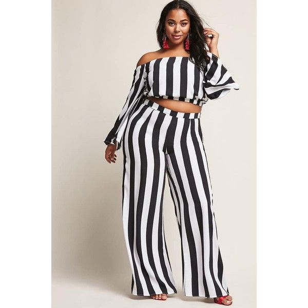 Forever21 Plus Size Stripe Wide-Leg Pants ($35) ❤ liked on Polyvore featuring pants, forever 21 pants, forever 21, striped trousers, striped pants and striped wide leg trousers