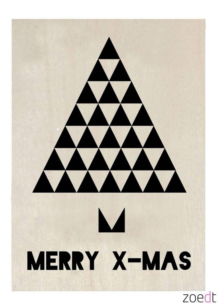 Zoedt Houten kerstkaart Merry X-mas