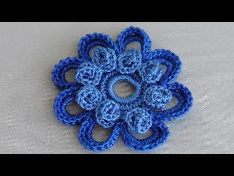 Вязаные цветы. Урок вязания. Ирландский цветок. Crochet flower pattern. - YouTube