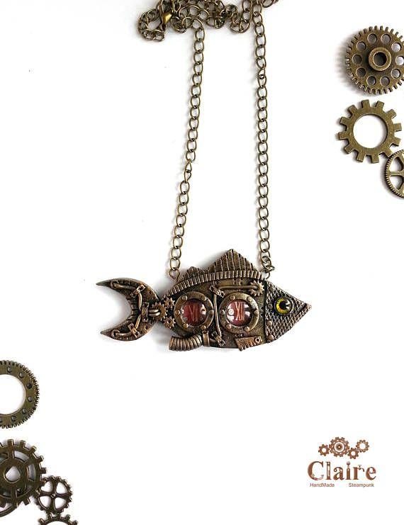 Steampunk Fish Pendant. Steampunk Fish necklace. Steampunk
