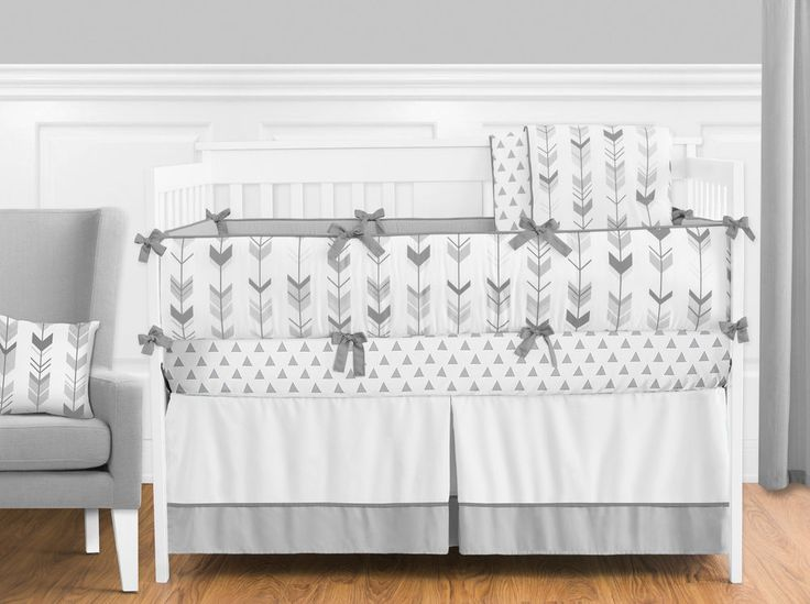 The 9pc Grey and White Woodland Arrow baby bedding collection by Sweet Jojo Designs will create a tribal yet modern look for your little adventurer. This gender neutral, woodsy crib bedding set uses a sensational collection of exclusive brushed microfiber fabrics. | eBay!