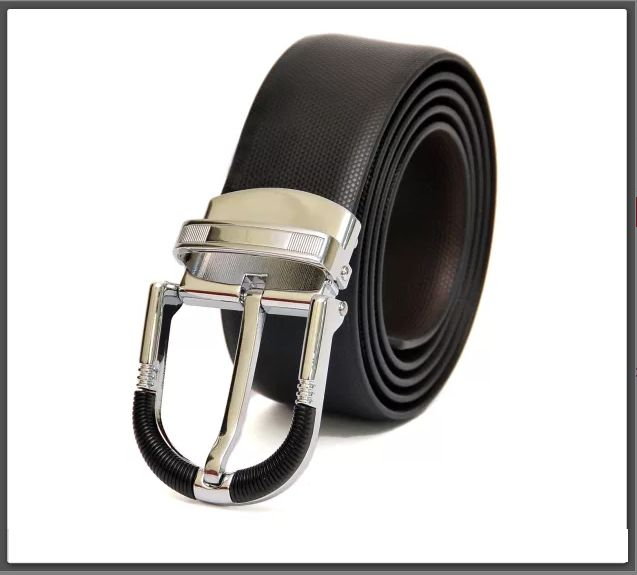 #LeatherBelts HIDEMARK BLACK-BROWN REVERSIBLE LEATHER BELT WITH DRESSY CHROME BUCKLE