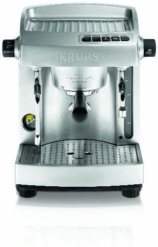 KRUPS XP618050 Full Stainless Steel Twin Thermo Block Espresso Machine, Silver by Krups. $599.99. Double Thermoblocks : Powerful 16 Bar Pump pressure. Compatible with ground coffee (1 or 2 cups) and all types of pods; 2 year warranty. Programmable features at a touch of a button with automatic flow stop. 2 outlets : 1 to froth the milk, the other to dispense hot water. Large 100oz water tank capacity with alter level indicator and low water level detection. Inspired by expert...