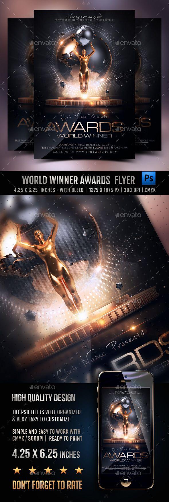 World Winner Awards Flyer Template PSD. Download here: https://graphicriver.net/item/world-winner-awards/17404944?ref=ksioks