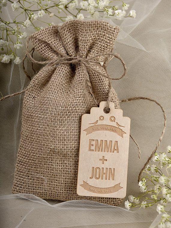 Natural Rustic Burlap Wedding Favor Bag , Birds IN love  Wedding Favor Bags , County Style Bag, Custom  Wood Tag on Etsy, $3.40