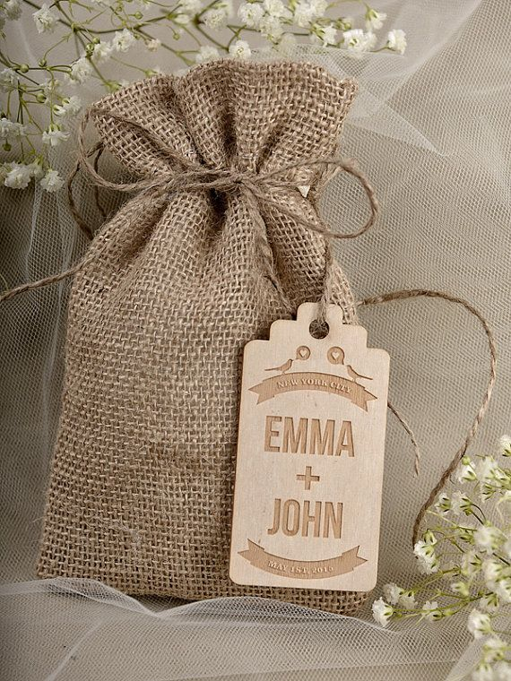 Natural Rustic Burlap Wedding Favor Bag , Birds IN love  Wedding Favor Bags , County Style Bag, Custom  Wood Tag on Etsy, $3.40