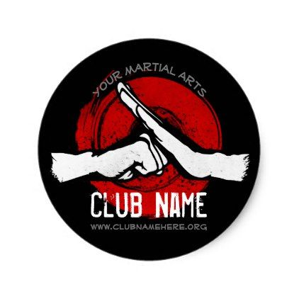 Martial Arts Club Classic Round Sticker - red gifts color style cyo diy personalize unique