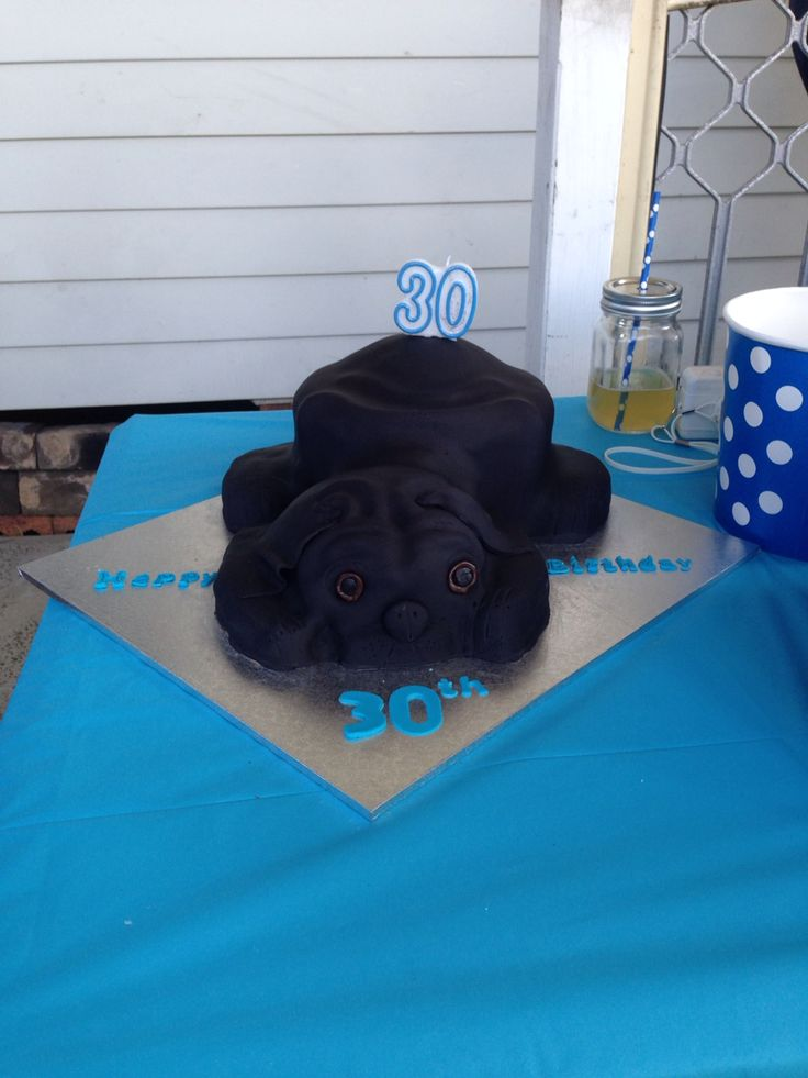 Pug 30th birthday cake