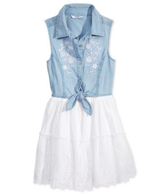GUESS Girls' Embroidered Denim Sleeveless Tie-Front Dress