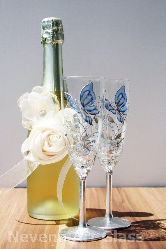 Wedding Champagne Glasses Hand Painted in  Aqua by NevenaArtGlass, $55.80   #wedding #glasses
