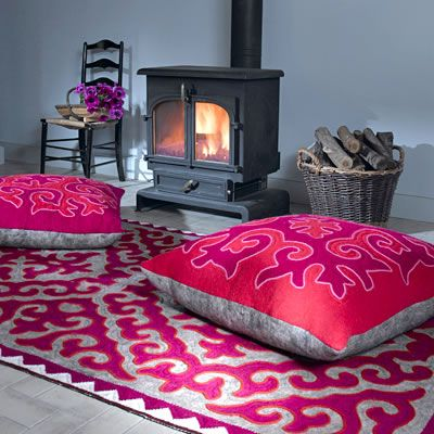 Beautiful felt rug and floor cushions - Unique felt rugs from the Mountains of Heaven http://www.feltrugs.co.uk/