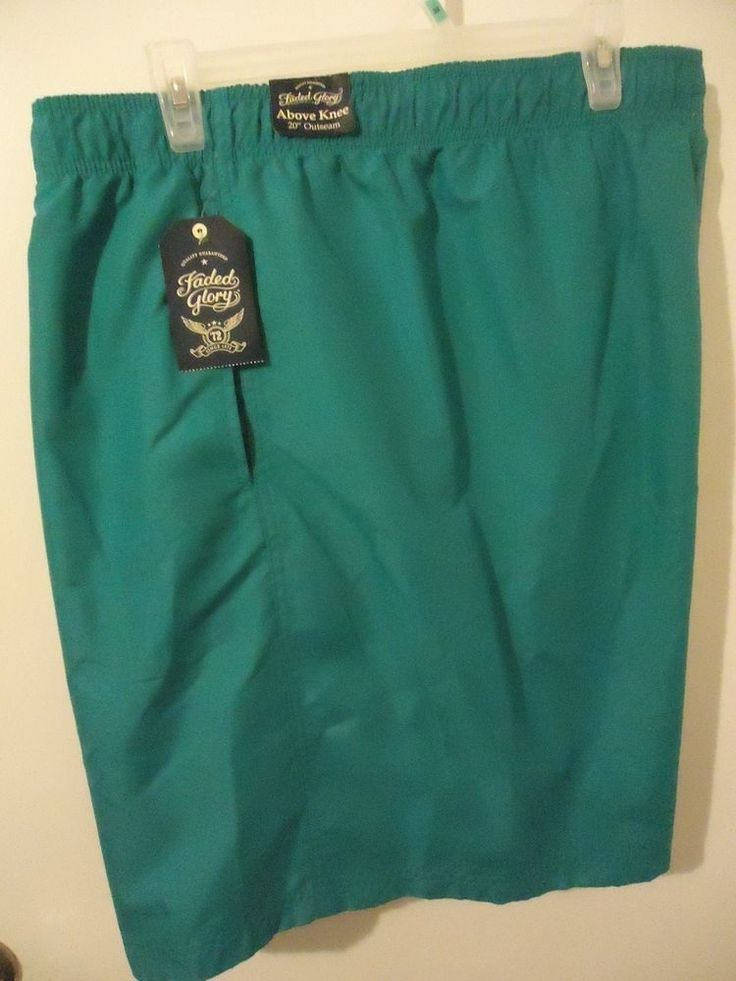 Big Men's Faded Glory Solid Swim Trunks Shorts Cool Turquoise Size 3XL (48-50)  #FadedGlory #Trunks