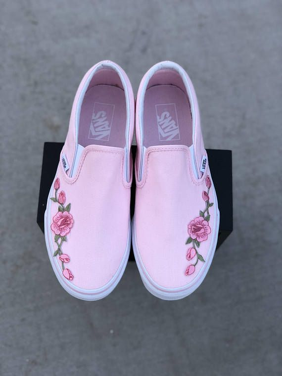 13f3b4048b63 Custom womens vans with rose applique. Roses are applied by professionals  and will not fall off or decay overtime. These custom vans shoes are not  sold ...