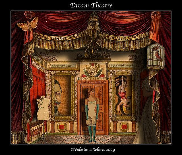 Dream Theatre creation in the spirit of the Toy Theater using a vintage Toy Theater curtaian -  by Valeriana Solaris