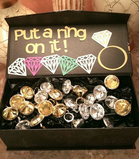 Put a ring on it game w/ 24 large rings Birthday Engagement wedding bachelor Bachelorette hens Party Bridal Shower Fabulous Fifty Paris fashion themed box fun 4 guests diamond bling party anniversary sweet sixteen quinceanera retirement graduation