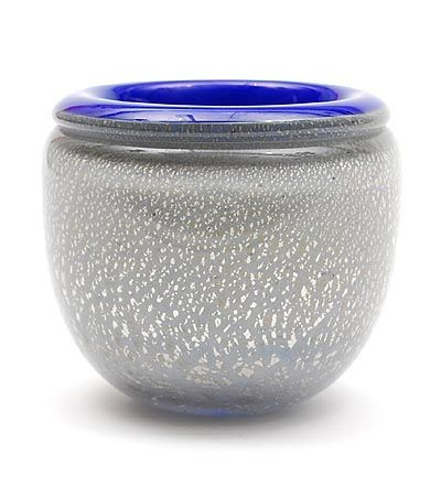 Found on www.botterweg.com - Unica vase with broken-open silver layer with clear glass overlay and blue glass interior design execution by Mieke Groot 1988 in own studio / the Netherlands