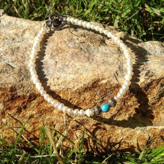 Freshwater Pearl & Turquoise Stacking by AppleBlossomJewel on Etsy