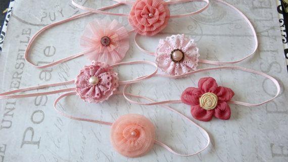 set 6 headbands, baby headbands, newborn headbands, baptism headband, flower headbands, vintage headbands, dainty headbands, pink headbands on Etsy, $12.95
