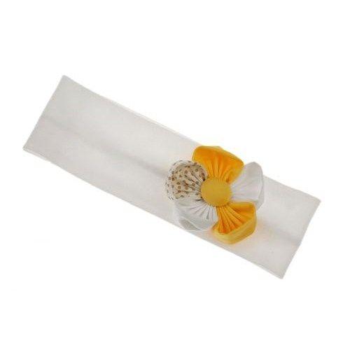 Kορδέλα μαλλιών άσπρη με λουλούδι
