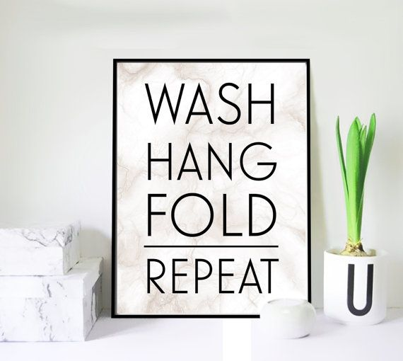Wash Hang Fold Repeat on Marble Background  by VisualPixie on Etsy
