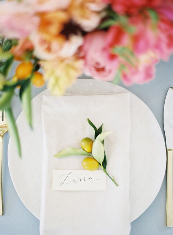 Lush Summer Citrus Place Setting | Michael Radford Photography | See More! http://heyweddinglady.com/summer-citrus-wedding-inspiration-in-coral-yellow-and-aqua/