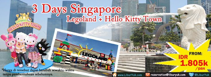 Yuk habiskan liburan Anda dengan menikmati wisata #Theme #park dunia, Legoland dan Hello Kitty Town dengan cara yang hemat dan mudah. Kini tersedia paket 3 hari #Singapore - #Legoland + #Hello #Kitty #Town dengan harga spesial lho!  Dapatkan Spesial Paket tersebut dari #LiburYuk http://liburyuk.com/promotional-package/book/063313846/3-D-Legoland-plus-Hello-Kitty-land #jalan #holiday #AbbeyTravel