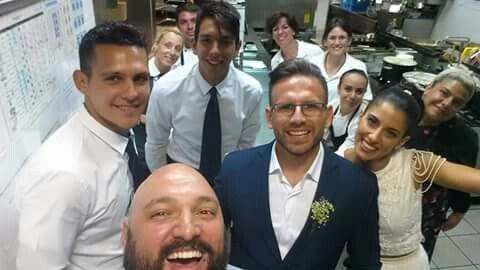 #wedding #selfie #kitchen #chef #groom #bride