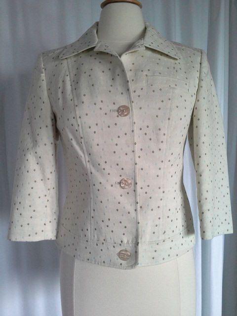 SIZE 4 - $89.50 TALBOTS Ivory Blue Brown Polka Dot Lined Cropped Jean Jacket #Talbots #PrincessCutJeanJacket