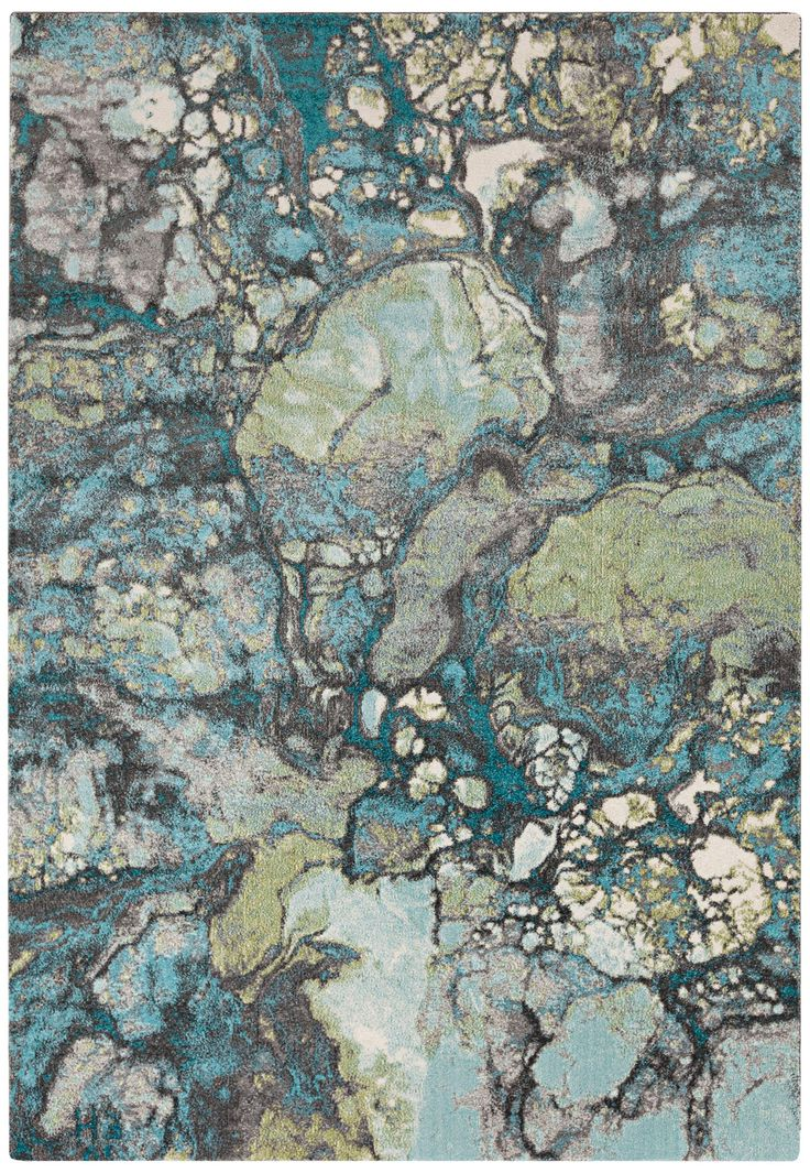 "Surya Aberdine 7'6"" x 10'6"" Teal Blue and Gray Area Rug"