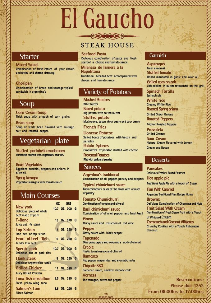 Sandos Playacar's El Gaucho Restaurant menu.  This Ala cart steak house serves top of the line meats.