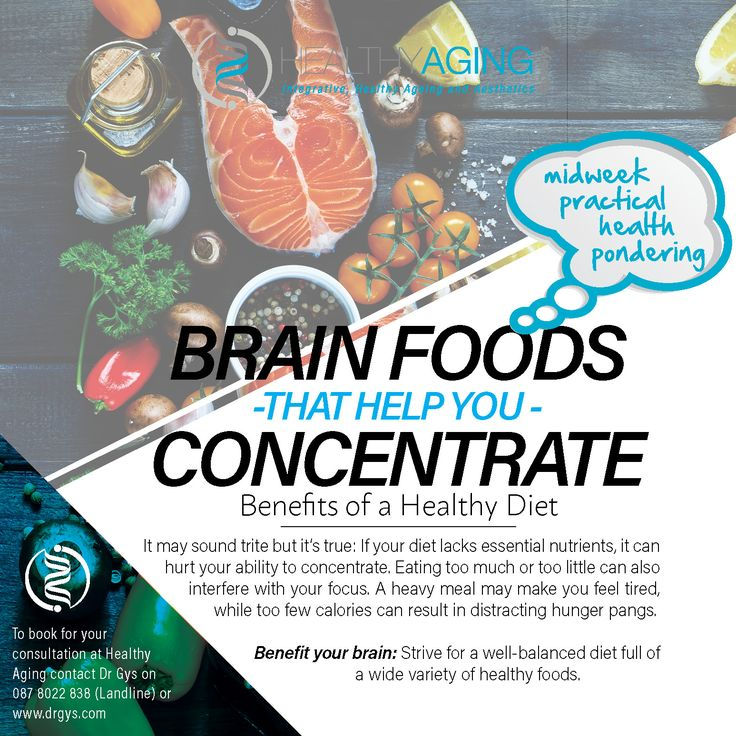 Brain Foods That Help You Concentrate Benefits of a Healthy Diet It may sound trite but it's true: If your diet lacks essential nutrients, it can hurt your ability to concentrate. Eating too much or too little can also interfere with your focus. A heavy meal may make you feel tired, while too few calories can result in distracting hunger pangs. Benefit your brain: Strive for a well-balanced diet full of a wide variety of healthy foods. #HealthTip #DrGys #BrainFood #HealthyDiet