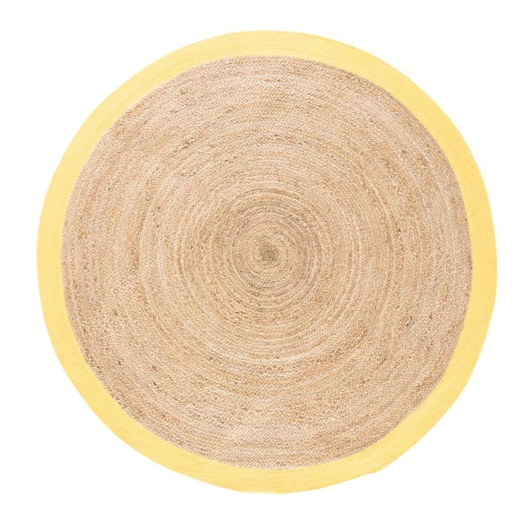Tappeto rotondo intrecciato in iuta con contorno giallo, d