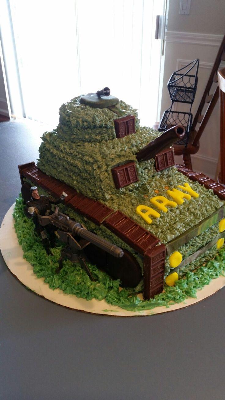 A fun birthday cake shaped like an army tank...