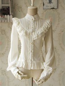 Camisa de laço do Chiffon Ruched blusa branca Lolita para as mulheres