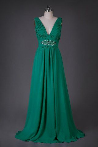Dave and Johnny Style 7425 # Chic V Neck Rhinestone Ruched Prom Dress # USD$ 129