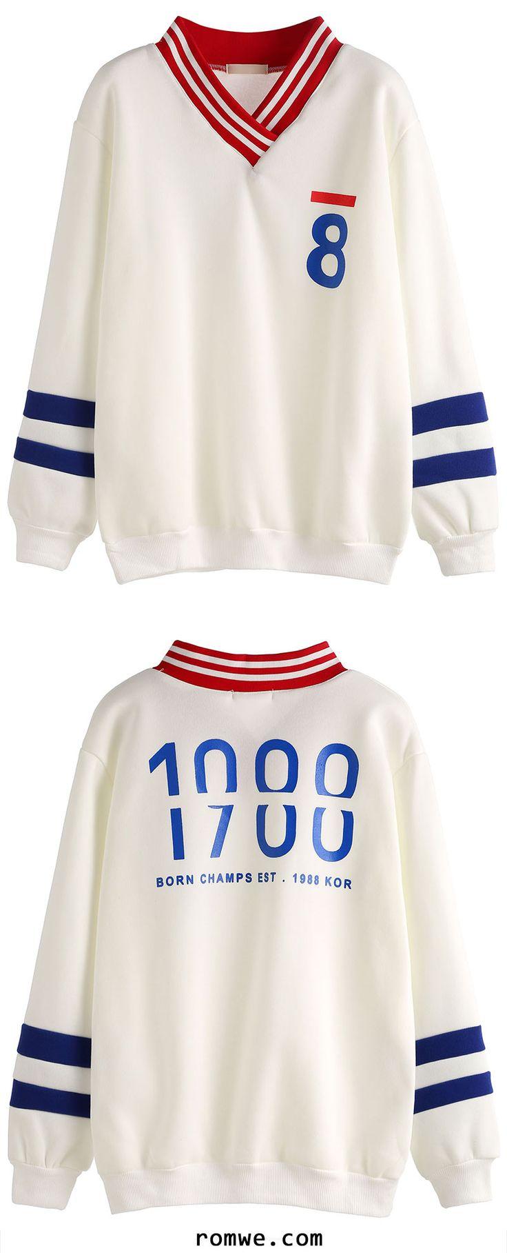 White Contrast Collar Varsity Printed Sweatshirt