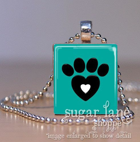 HeartShaped Dog Paw Print Necklace  DILE1  Teal by SugarLaneShoppe, $6.95