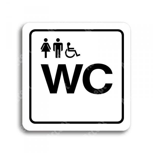 """Piktogram """"WC ženy, muži, invalidé"""" - bílá tabulka - černý tisk"""