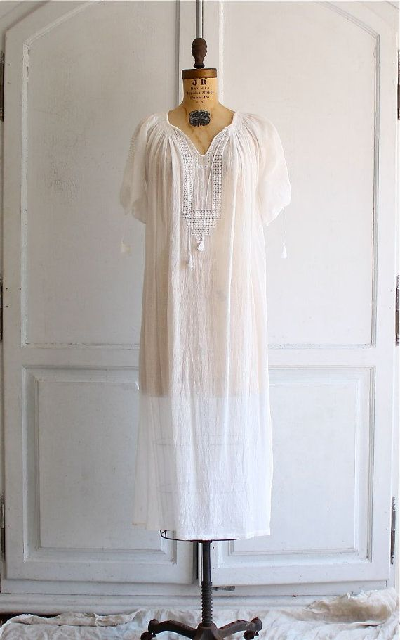 70s embroidered Romanian peasant dress deadstock by bohemiennes