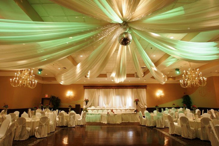 Rent a backdrop and ceiling drapings, add in some simple candle center pieces and nice uplighting. Perfect, classy reception.