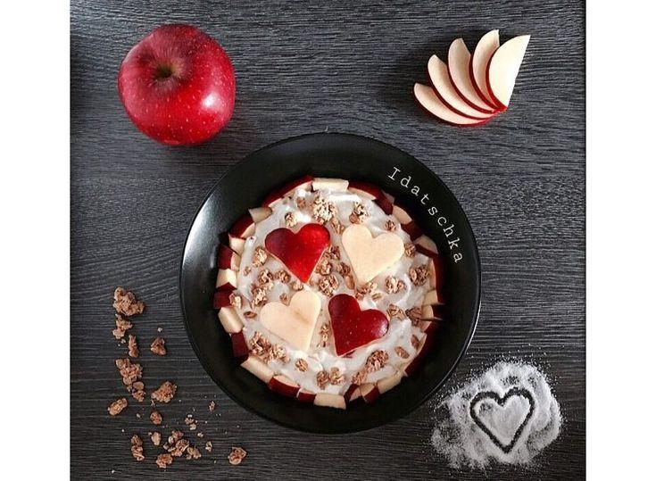 Quark mit knuspermüsli und Äpfeln 🍎😋